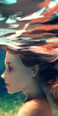 Аватар вконтакте Рыжеволосая девушка с закрытыми глазами в профиль под водой, by yuumei