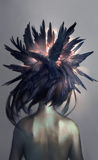 Аватар вконтакте Девушка с перьями на голове, by yuumei