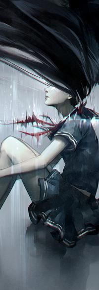 Аватар вконтакте Школьница с длинными черными волосами, by yuumei