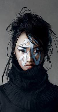 Аватар вконтакте Темноволосая девушка в черной водолазке и иерографом на лице, by yuumei
