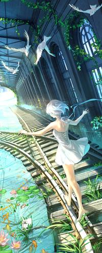Аватар вконтакте Белокурая девушка в белом платье идет по рельсам, сверху летят белые голуби, by yuumei