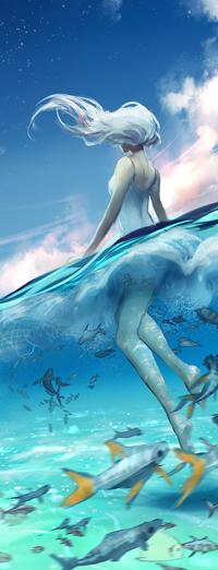 Аватар вконтакте Белокурая девушка в белом купальнике в воде на фоне неба, by yuumei