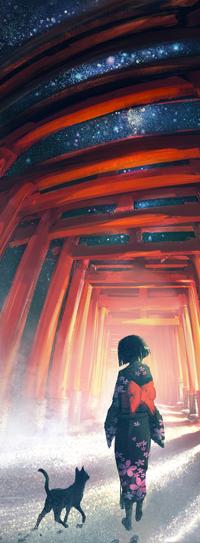Аватар вконтакте Девушка в кимоно, рядом с ней идет черный кот, by yuumei