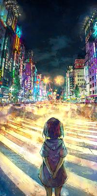 Аватар вконтакте Девочка стоит в ночном городе Токио, by yuumei