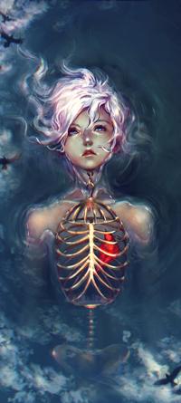 Аватар вконтакте Розовлосая девушка с красной птицей в грудной клетке в небе, среди черных птиц, by yuumei
