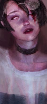 Аватар вконтакте Девушка с очками, с кровью на глазе, by zephy0