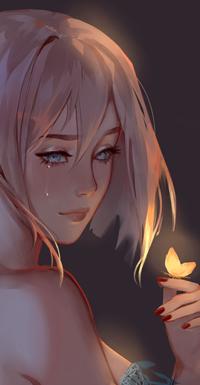 Аватар вконтакте Плачущая голубоглазая девушка, с бабочкой на руке, by Tpiola