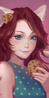 Аватар вконтакте Рыжеволосая голубоглазая девушка с кошачьими ушками и печенькой в руке, и двумя возле ушка, by Tpiola
