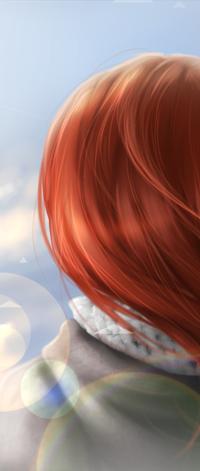 Аватар вконтакте Рыжеволосая девушка на фоне неба, by Konoko-Yoyo-Tsuke