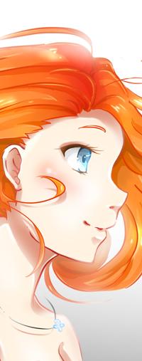 99px.ru аватар Рыжеволосая голубоглазая девушка в профиль, by Konoko-Yoyo-Tsuke