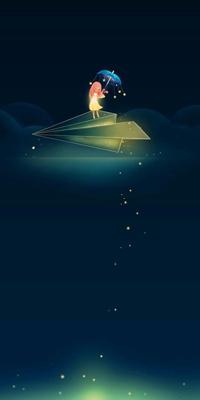Аватар вконтакте Девочка с зонтиком рассыпает на небе звезды, летя на бумажном самолетике