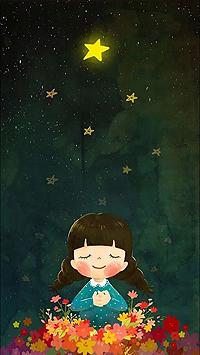 Аватар вконтакте Девочка среди цветов под звездным небом, с которого падают звезды