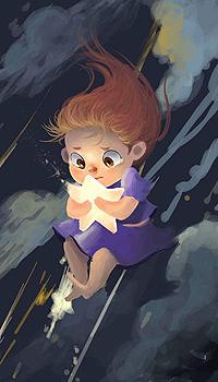 Аватар вконтакте Девочка падает с ночного неба, прижав к себе звезду