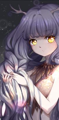Аватар вконтакте Девушка с янтарными глазами, с рожками, держит волосы в руках, by kaminary-san
