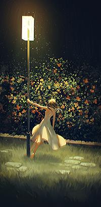 Аватар вконтакте Девушка стоит у горящего городского фонаря. By Loika