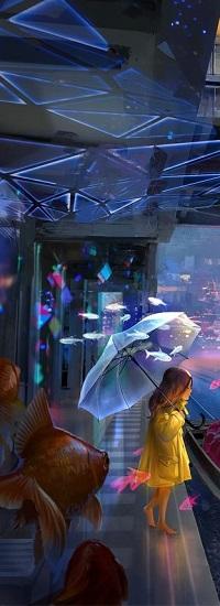 Аватар вконтакте Девочка с зонтом стоит на мостовой и вокруг нее парят рыбы