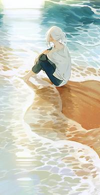 Аватар вконтакте Девушка сидит у моря