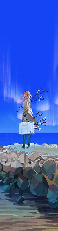 Аватар вконтакте Девушка с чемоданом и весенними ветками стоит на камнях
