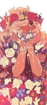 Аватар вконтакте Девочка с венком на голове и вся усыпана цветами, by aleikats