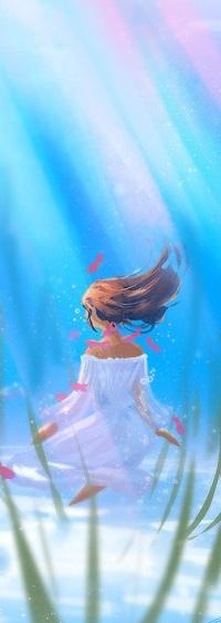 Аватар вконтакте Девушка в белом платье под водой