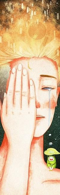 Аватар вконтакте Мальчик закрыл рукой лицо, а на плече сидит чудик, by Maoi