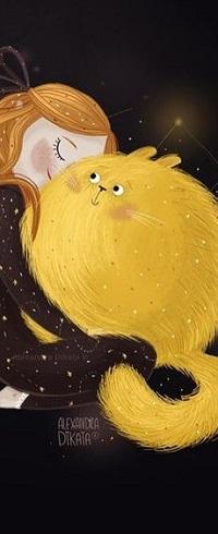 Аватар вконтакте Девочка обнимает пухлого кота