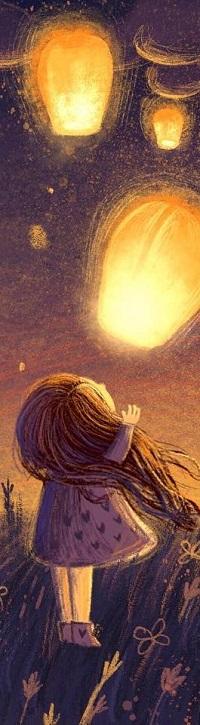Аватар вконтакте Девочка смотрит на фонари в небе