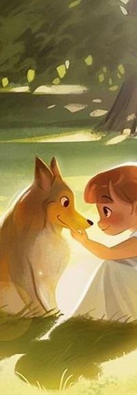Аватар вконтакте Девочка с собакой на поляне