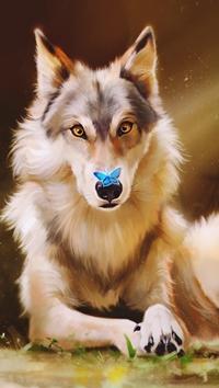Аватар вконтакте Волк удивлен бабочке на носу, by Yana Cot