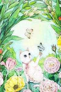 Аватар вконтакте Белая кошечка с бабочкой на лапке