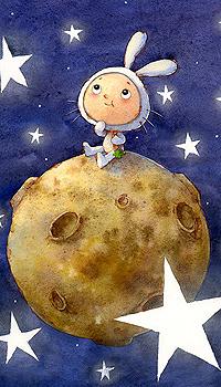 Аватар вконтакте Малыш в костюмчике белого кролика с морковкой в руке сидит на луне