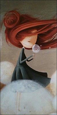 Аватар вконтакте Девочка с рыжими волосами держит в руке одуванчик