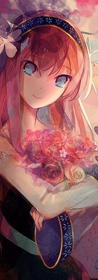 Аватар вконтакте Vocaloid Megurine Luka / Вокалоид Мегуринэ Лука с цветами, by Lyiet