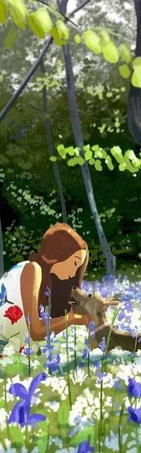 Аватар вконтакте Девочка с собакой на цветущей поляне