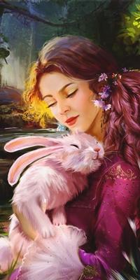 Аватар вконтакте Девушка обнимает кролика, by abeer malik
