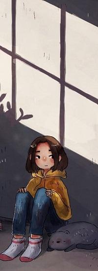 Аватар вконтакте Девочка сидит у стены и рядом лежит кошка