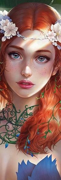 Аватар вконтакте Рыжеволосая девушка с цветами на голове
