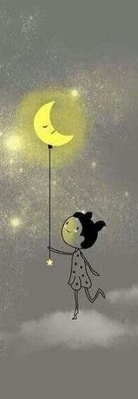 Аватар вконтакте Смешная девочка с месяцем на веревочке стоит на облаке