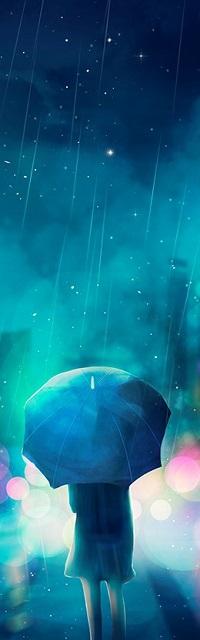 99px.ru аватар Девочка с зонтом стоит к нам спиной под дождем