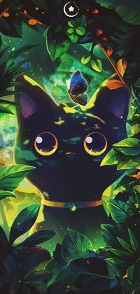 Аватар вконтакте Черная кошка в зарослях, by xinxin liu