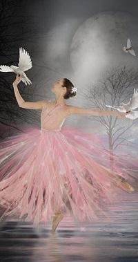 Аватар вконтакте Балерина с голубями на руках