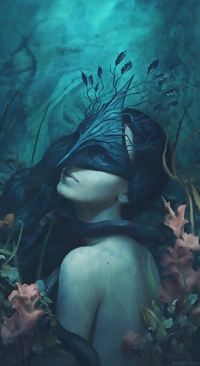 99px.ru аватар Девушка в маске со змеей на шее среди цветов, by Marcela Bolivar