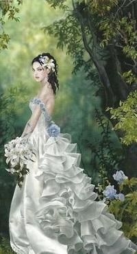 Аватар вконтакте Девушка в длинном белом платье с букетом цветов, by Nene Thomas