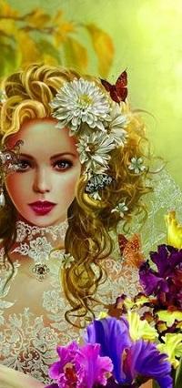 Аватар вконтакте Девушка с цветами и бабочкой на голове, by Nene Thomas