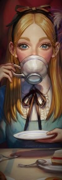 Аватар вконтакте Алиса с чашкой и блюдцем в руках, персонаж сказки Алиса в Стране чудес / Alice in Wonderland, by Dasha Y. Park