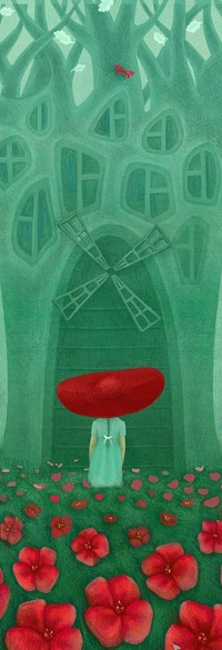 Аватар вконтакте Девочка в красной шляпе стоит перед домиком-деревом на поле маков, by Галя Зинько