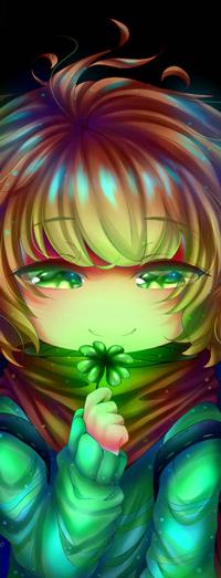 Аватар вконтакте Рыжеволосый зеленоглазый ребенок с клевером, by NecryoNics