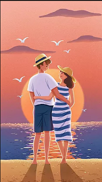 Аватар вконтакте Парень с девушкой стоят у моря на фоне солнца