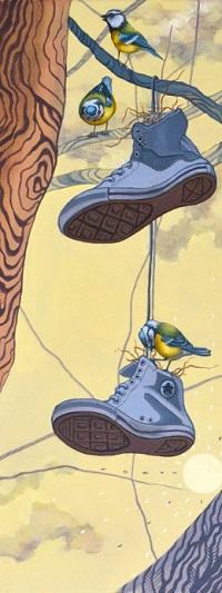 Аватар вконтакте Синички на дереве и на обуви, весящей на ветке, by Anne Angelshaug
