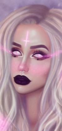 Аватар вконтакте Белокурая девушка с белыми глазами и фиолетовыми губами с перевернутым крестом на лбу и парсингом в носу, by BellaDiablosita